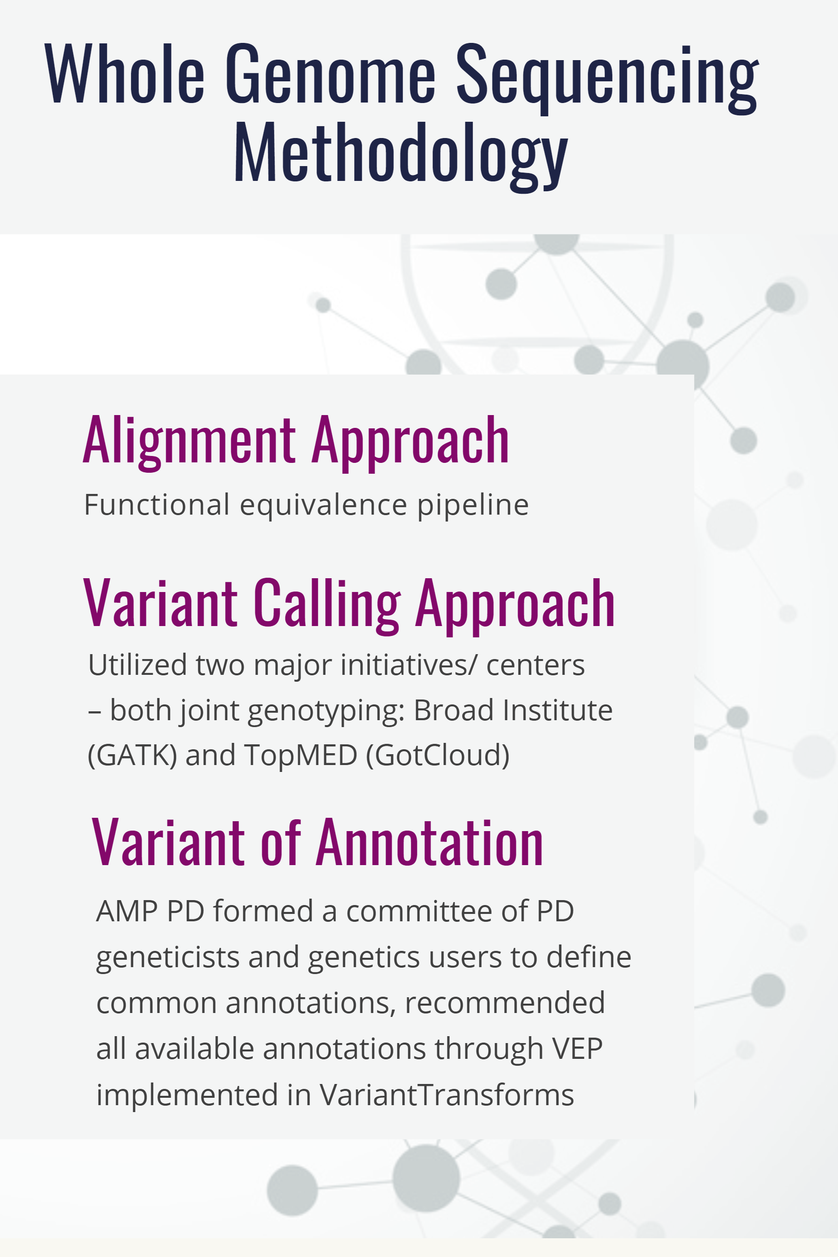 Whole Genome Sequencing Methodology: Alignment approach; Variant Calling approach; Variant of annotation